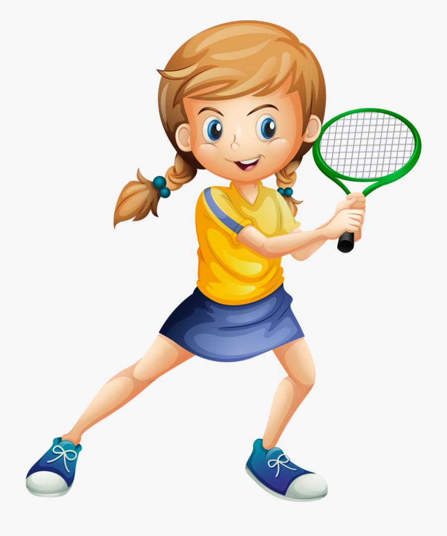 Men Clipart Tennis - Girl Playing Badminton Clipart, Transparent Clipart