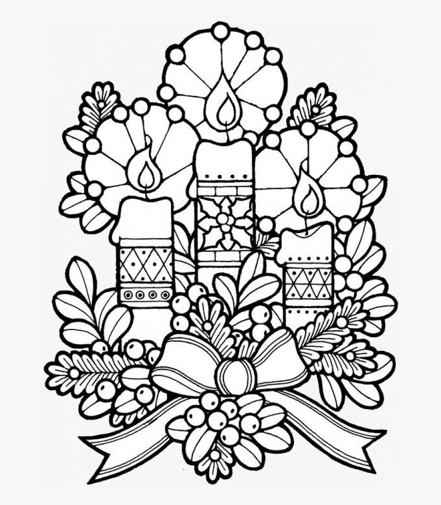 Coloring Page Of Christmas Candle With Chrismast And - Christmas Painting By Numbers, Transparent Clipart