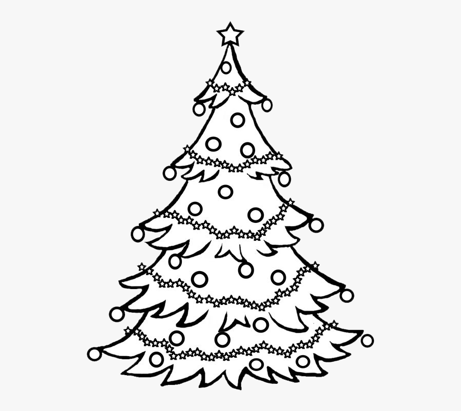 Pine Tree Clipart Black And White / Christmas Tree - Sketch Christmas Tree Drawing, Transparent Clipart
