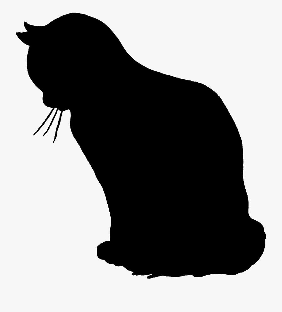 Transparent Sitting Cat Silhouette, Transparent Clipart