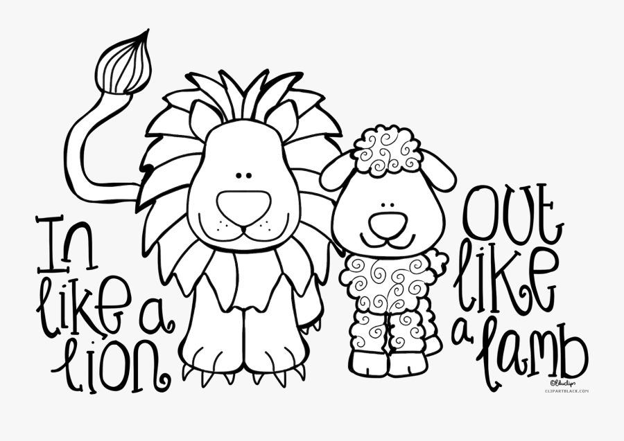 Clipart Lion Black And White - Like A Lion Out Like A Lamb Coloring Sheet, Transparent Clipart