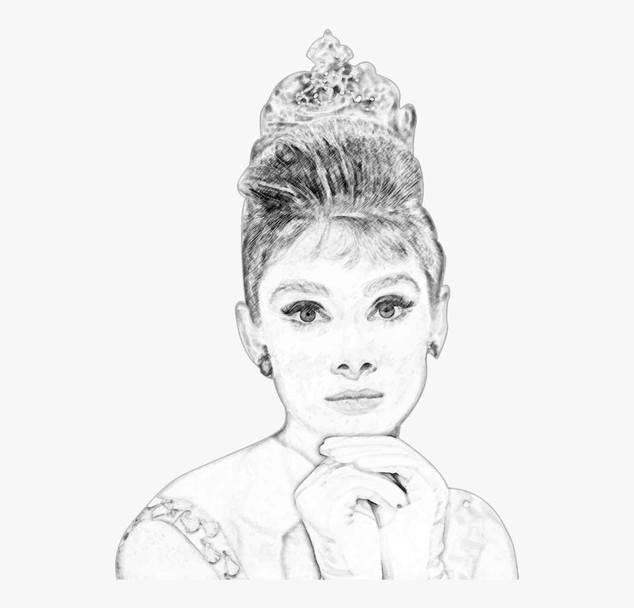 Audrey Hepburn Pencil Sketch Portrait - Portrait Audrey Hepburn Drawings, Transparent Clipart
