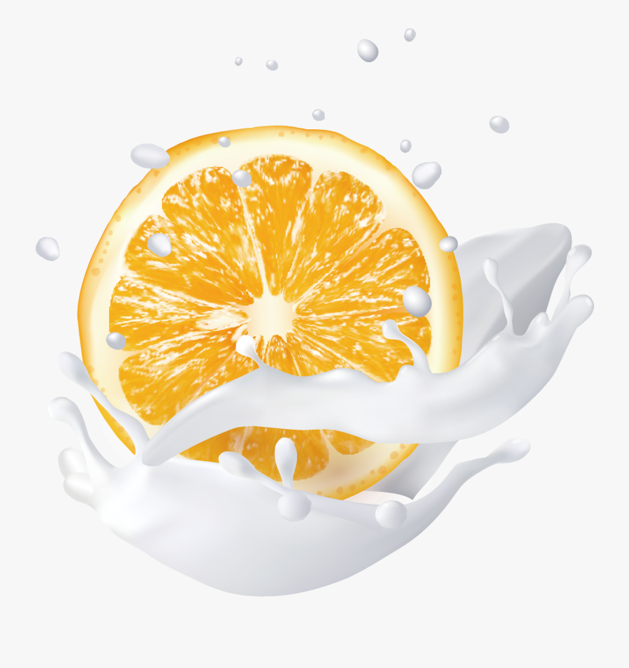 Lemon Vector Splash - Orange Milk Splash Png, Transparent Clipart