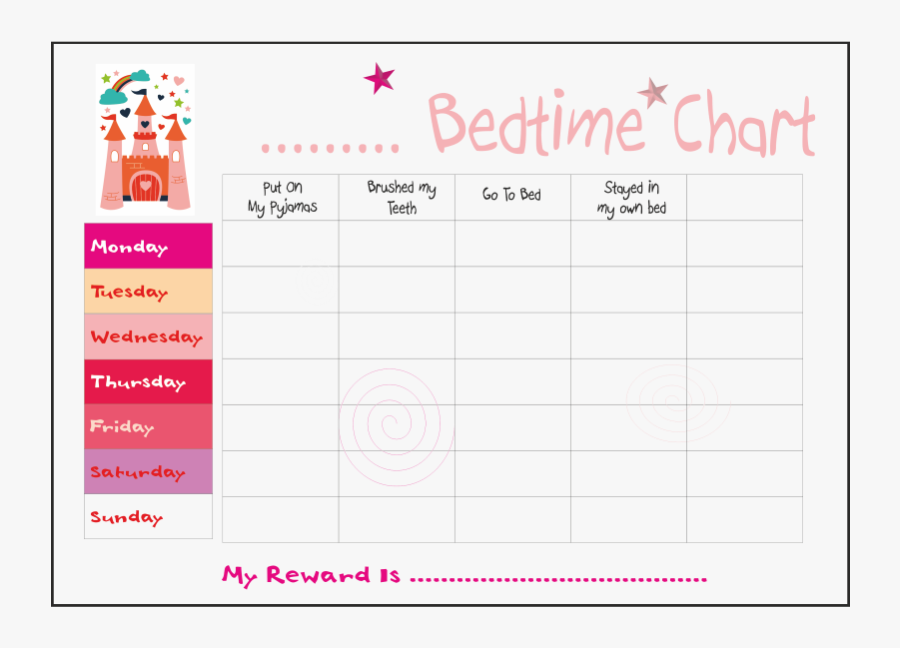 Transparent Girl Go To Bed Clipart - Bedtime Chart For Girls, Transparent Clipart