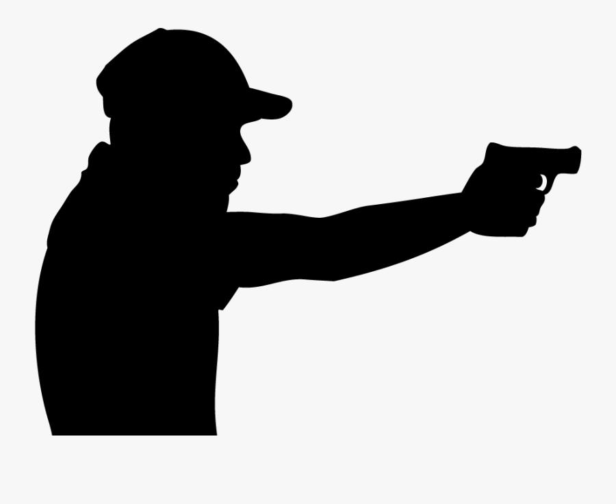 Metallic Silhouette Shooting Gun - Shooter Silhouette Png, Transparent Clipart