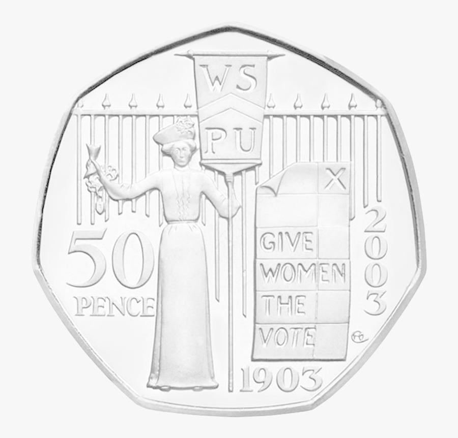 Suffragette 50p Coin, Transparent Clipart