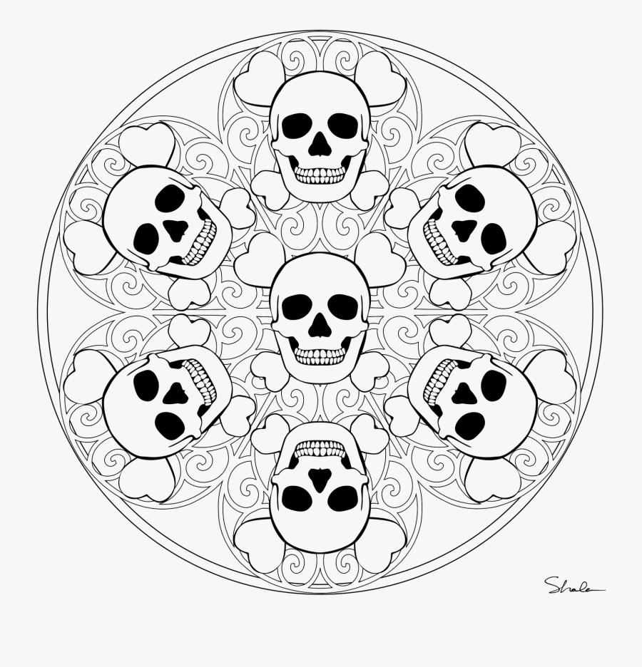 Skull Mandala Coloring Pages, Transparent Clipart