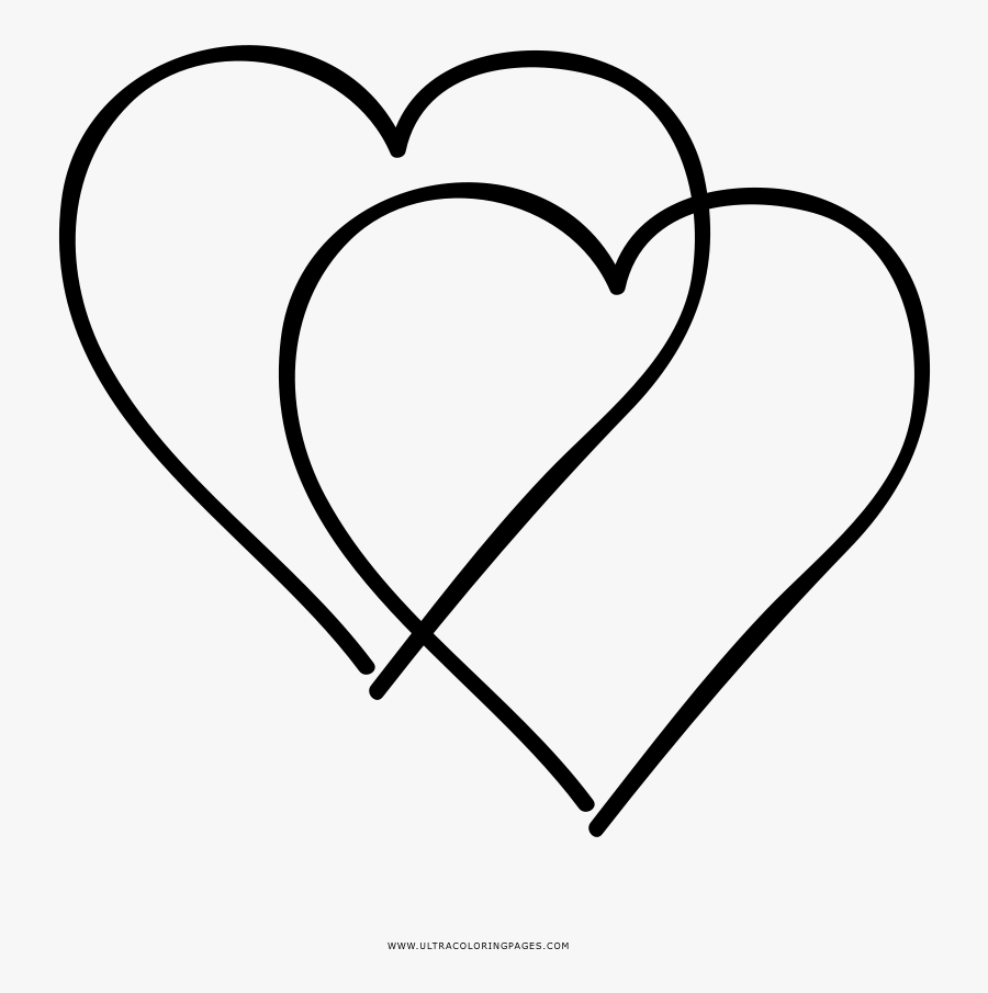 Urgent Double Heart Coloring Pages Page Ultra - Double Heart Coloring Page, Transparent Clipart