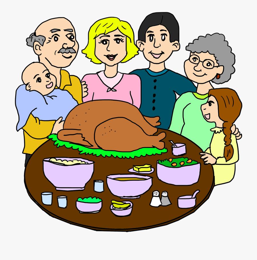 Family Thanksgiving Dinner Clipart, Transparent Clipart