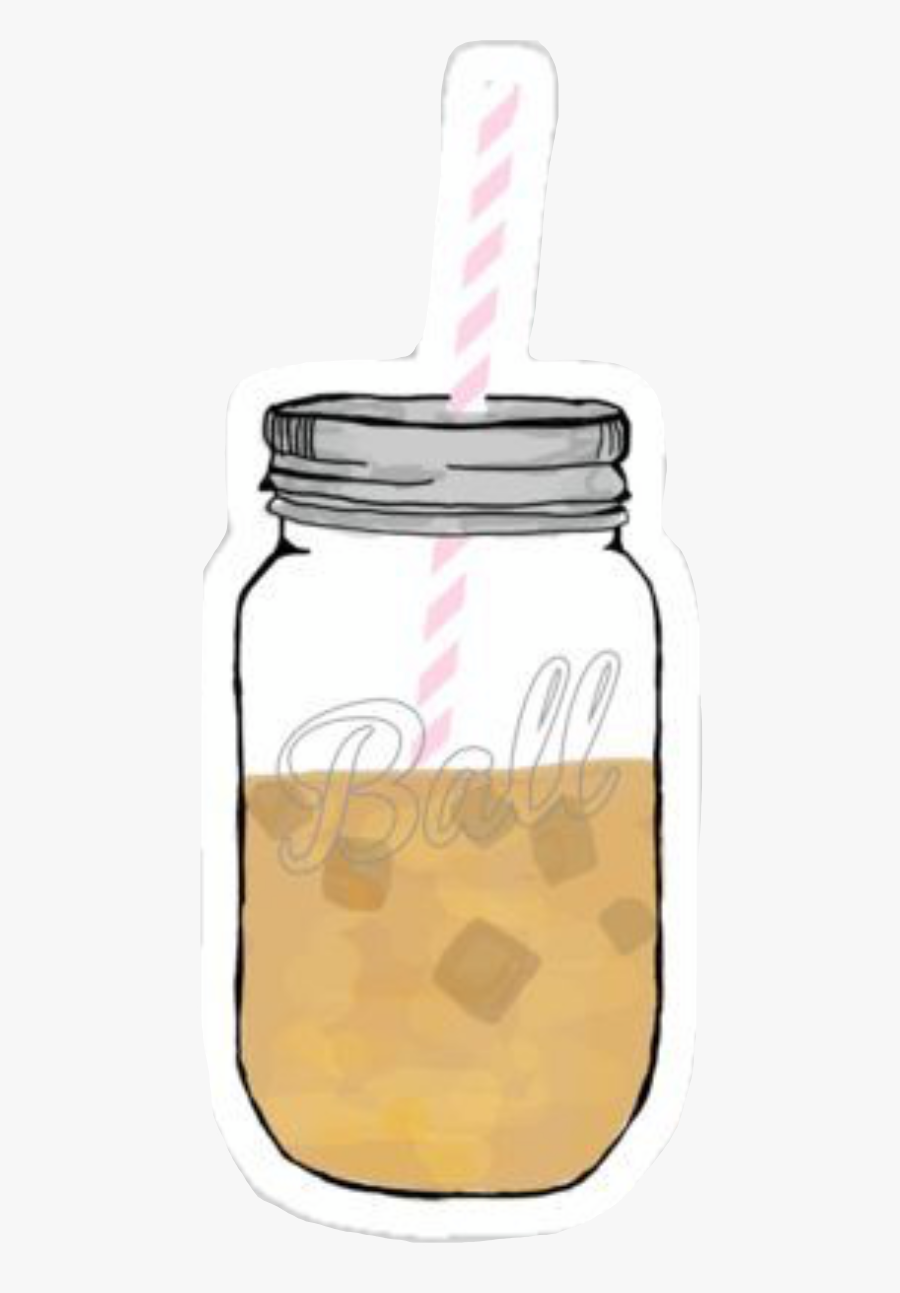 Vsco Aesthetic Icedcoffee Masonjar Straw Freetoedit - Vsco Stickers Iced Coffee, Transparent Clipart