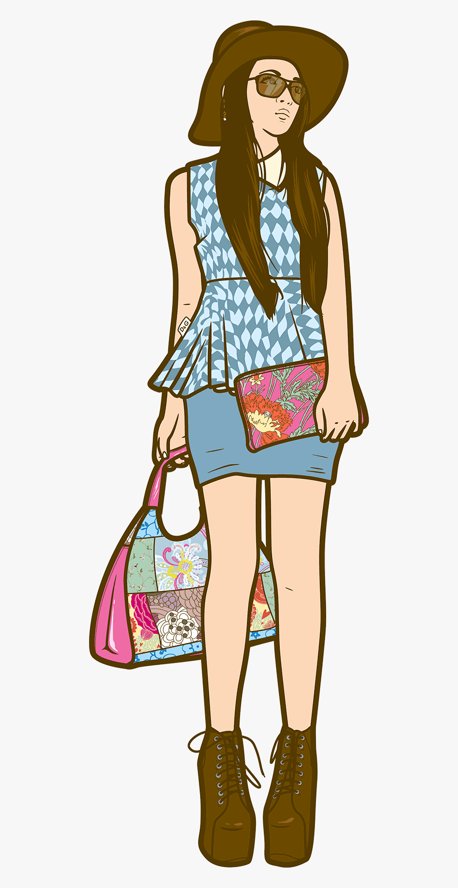 Character Illustration Fashionista - Character Illustration Png, Transparent Clipart