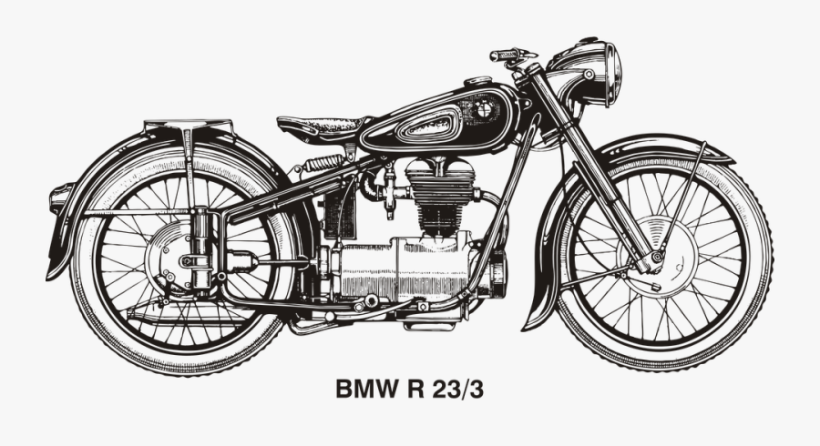 Bmw Vintage Motorcycle Drawing, Transparent Clipart