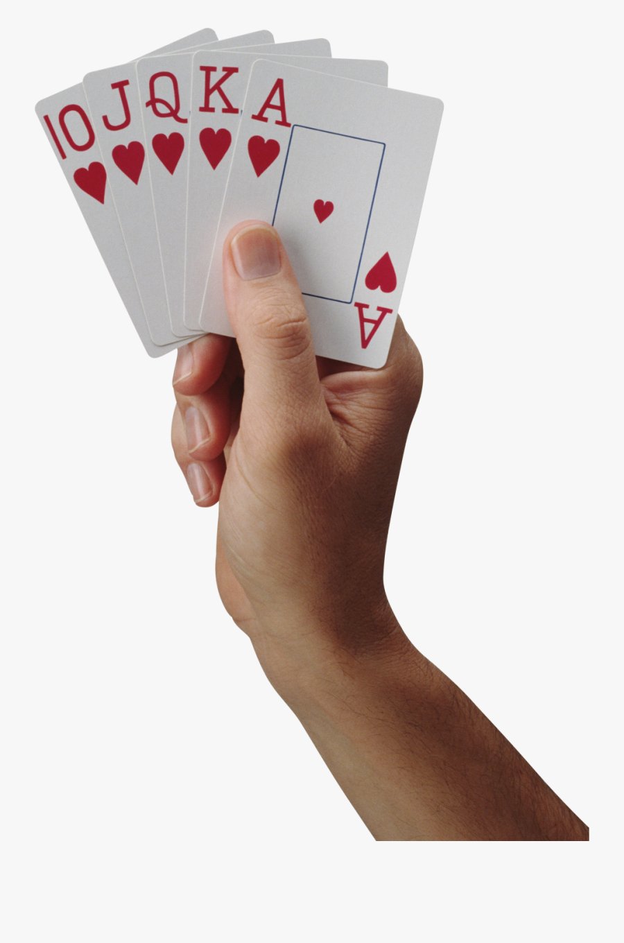 Playing Card On Hand Png Image - Cards In Hand Png, Transparent Clipart