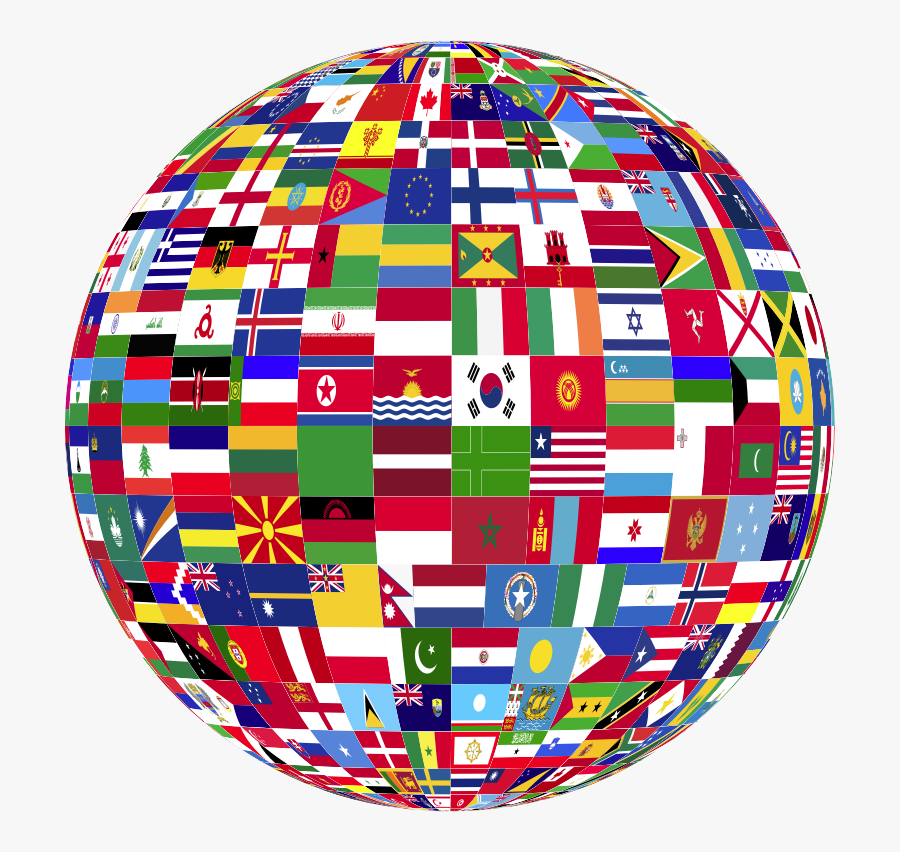 World Flags Globe - Globe Flags Of The World, Transparent Clipart