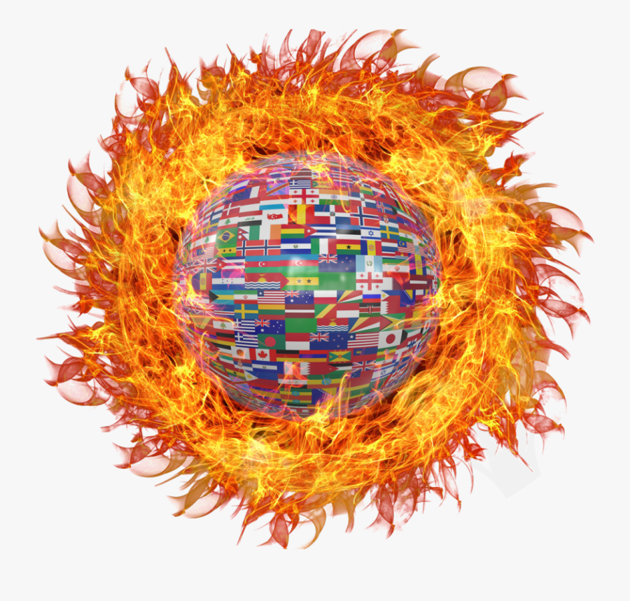 Globe With World Flags On Fire Png Image - Portable Network Graphics, Transparent Clipart