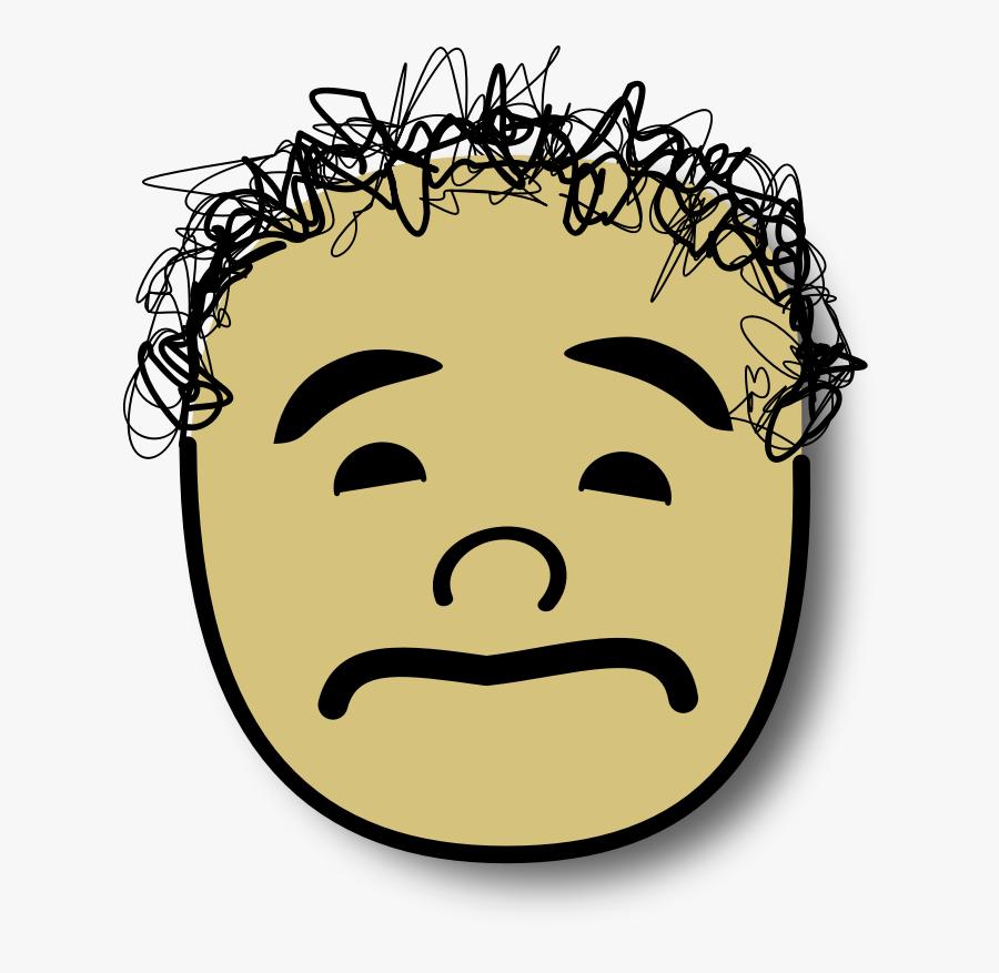 Clipart - Ale Triste - Sad Smiley With Hair, Transparent Clipart