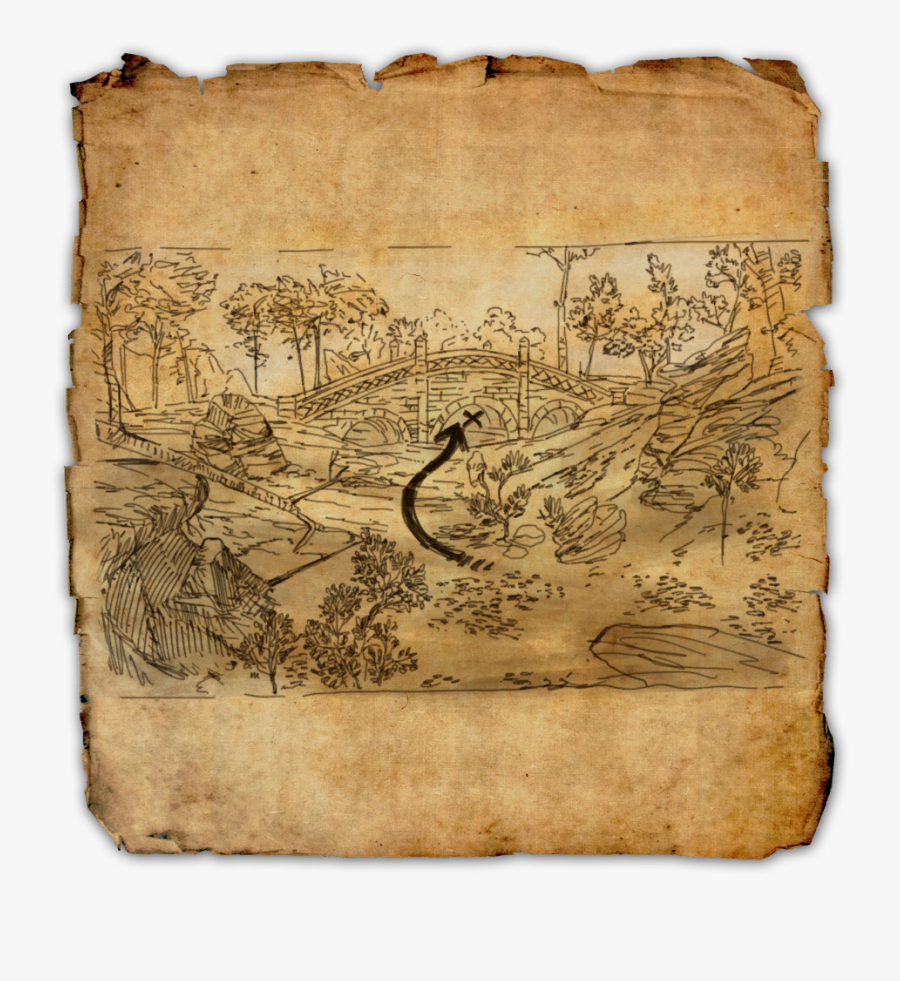 Transparent Treasure Map Clipart Black And White - Clockwork City Eso Treasure Map, Transparent Clipart