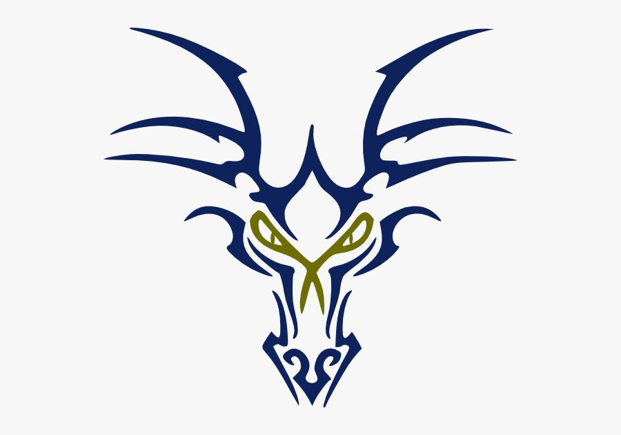 Blue Dragon Head Svg Clip Arts - Small Tribal Dragon Tattoo, Transparent Clipart