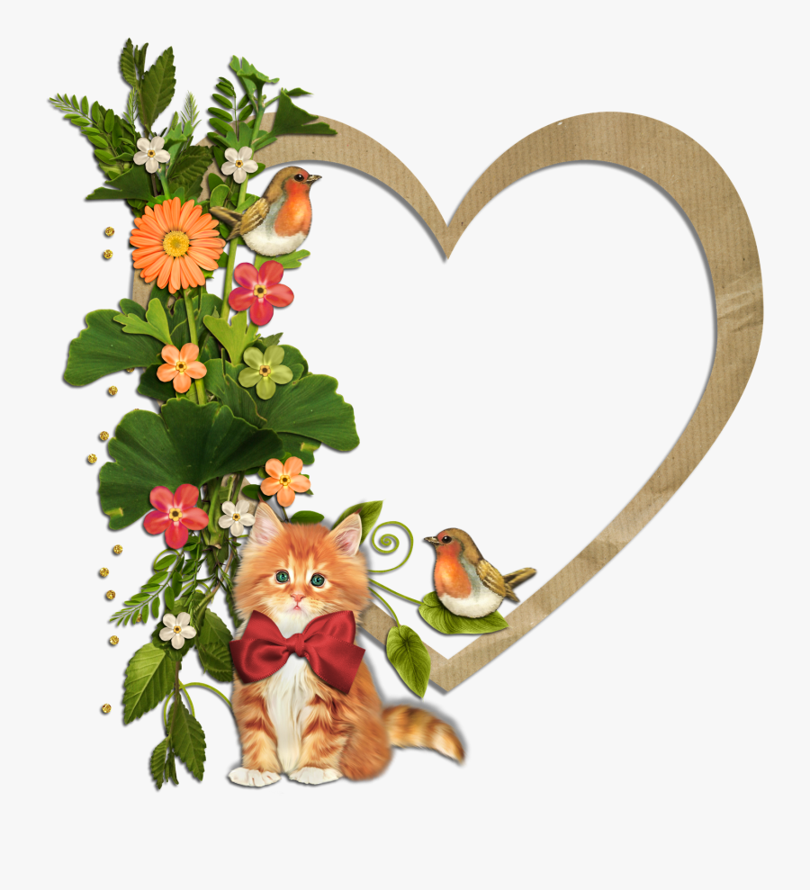 Hearts Frames With Flowers Clipart , Png Download - Flowers And Birds Frame, Transparent Clipart