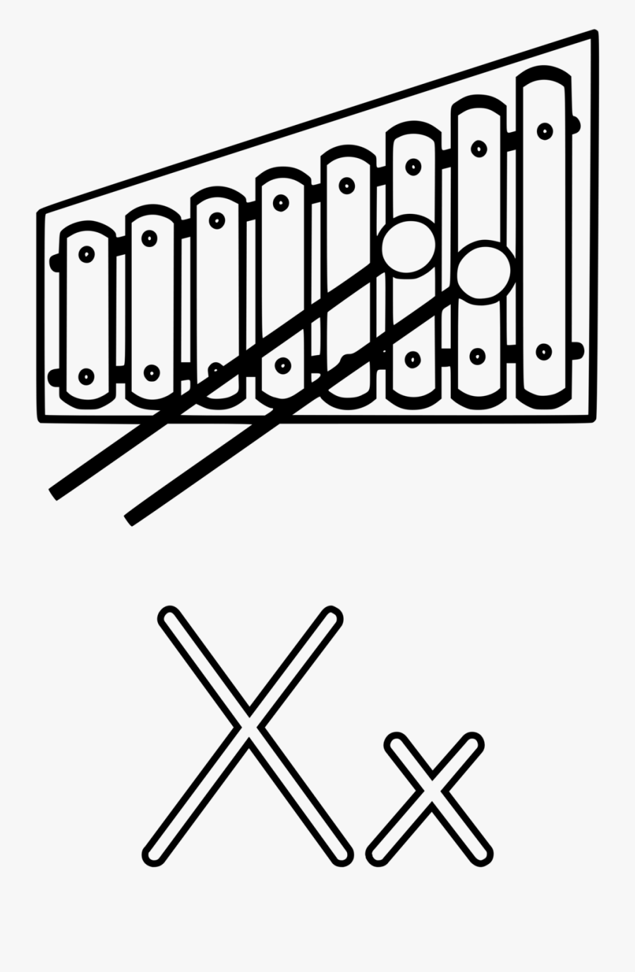 Free Stock Photo Illustration - Xylophone Clipart Black And White, Transparent Clipart