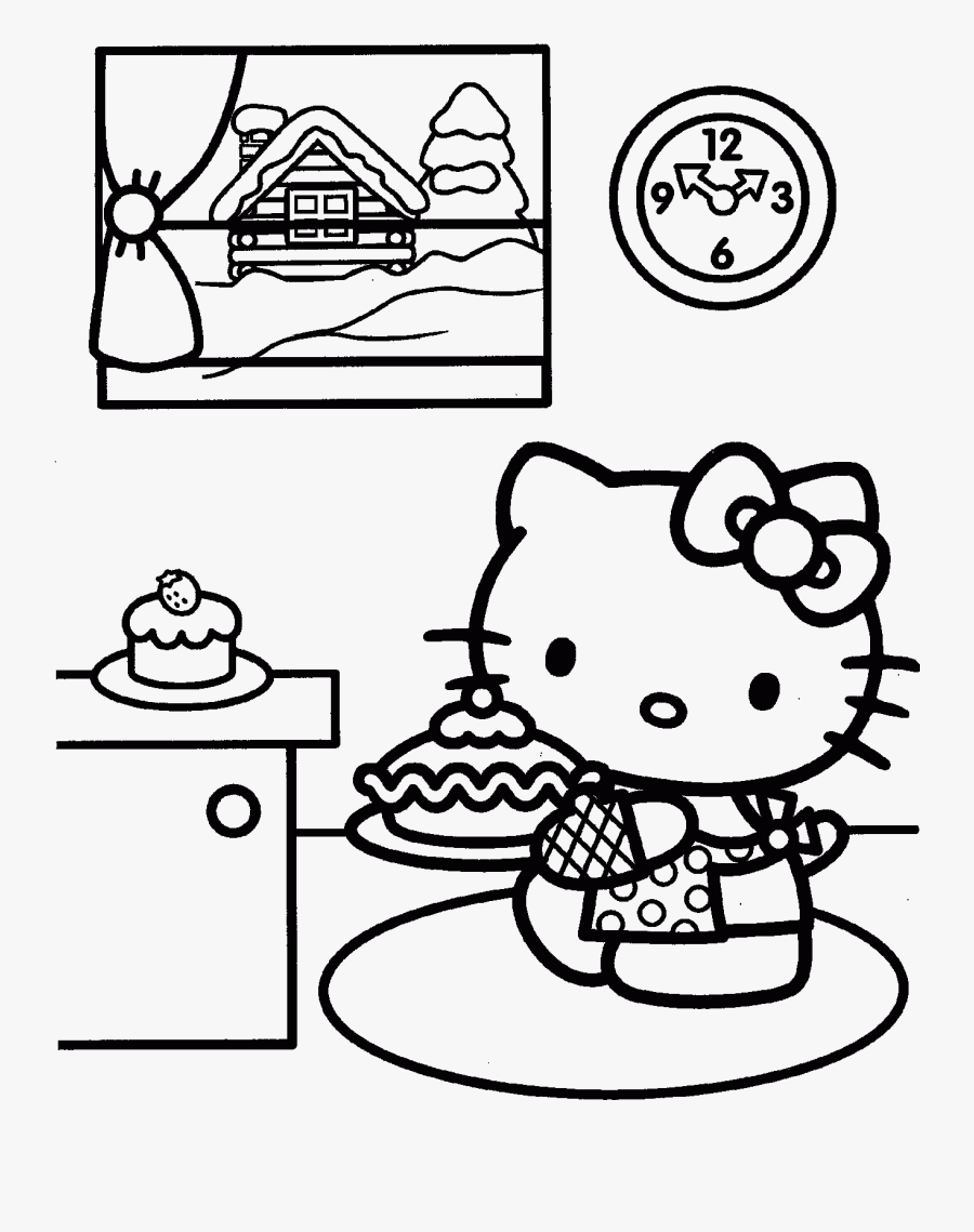 Simple Christmas Kitten Coloring Pages Printable Free Transparent Clipart Clipartkey
