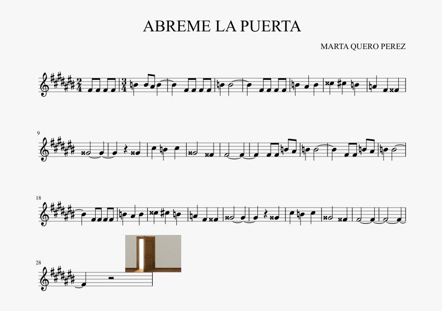 Abreme La Puerta Sheet Music Composed By Marta Quero - Sheet Music, Transparent Clipart