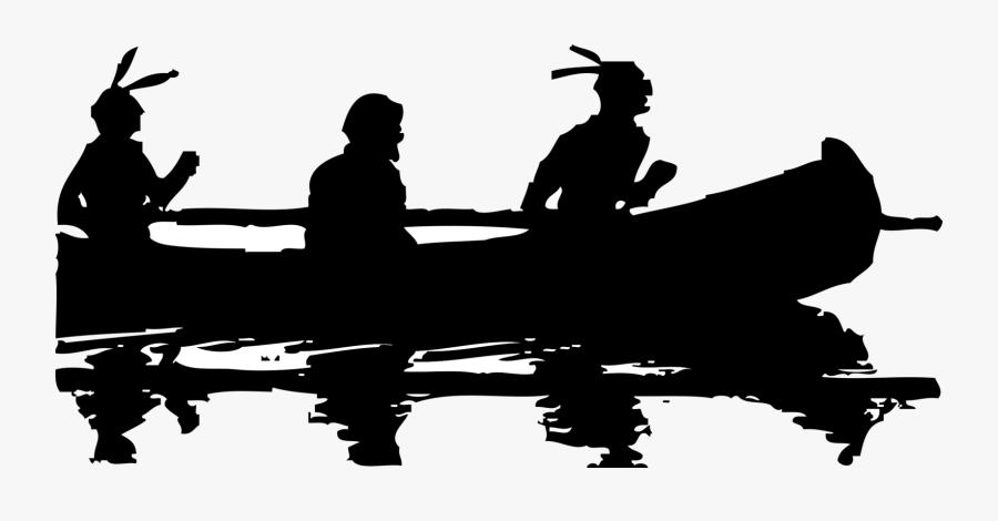 Monochrome And White - Native American Canoe Silhouette, Transparent Clipart