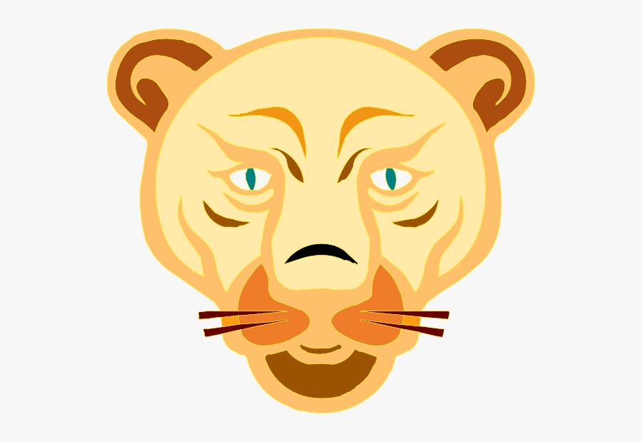 Cartoon Lion Head - Lioness Face Clipart, Transparent Clipart
