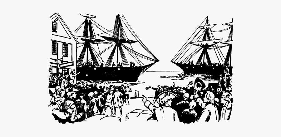Vector Drawing Of Old Ships In Boston Port - Boston Tea Party Png, Transparent Clipart