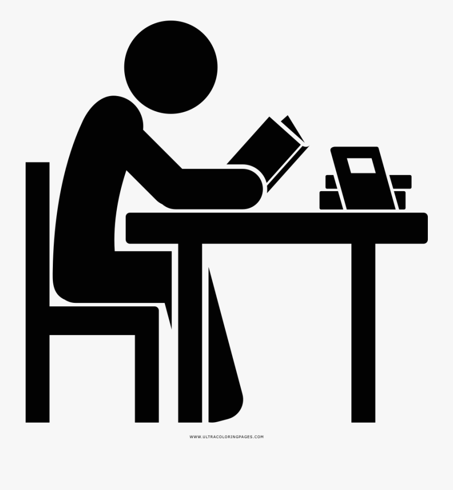 Transparent Study Icon Png - Drawing Of Someone Studying, Transparent Clipart