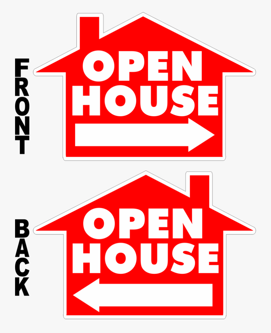 Open House House Shaped Yard Sign - House Vector, Transparent Clipart