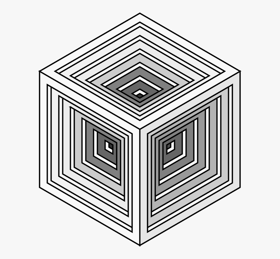 Line Art,square,angle - Optical Illusion Art In Cube, Transparent Clipart