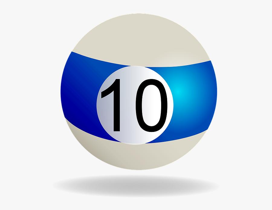 Billiard, Billiard Ball Blue Striped, 10, Pool, Ball - Bola De Billar 10 Png, Transparent Clipart