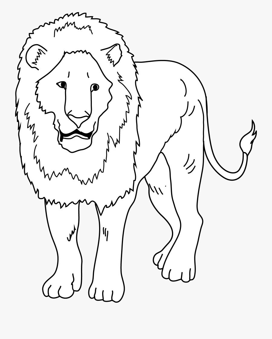 Lion Coloring Page - Lion Drawing Clipart, Transparent Clipart