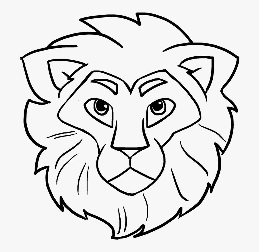 Transparent Lion Head Clipart For Kids - Lion Head Easy Drawing, Transparent Clipart