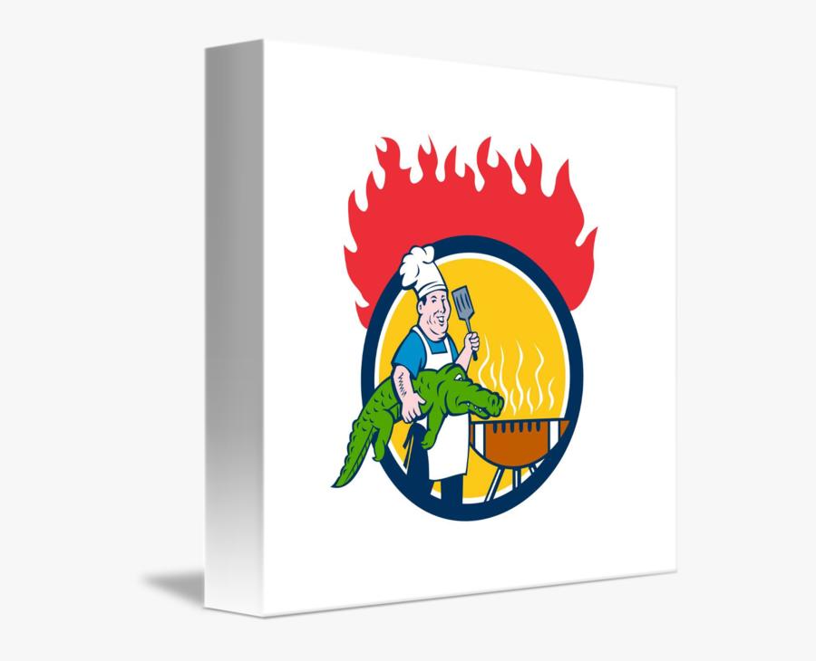 Chef Alligator Spatula Bbq Grill Fire Circle Carto - Barbecue, Transparent Clipart