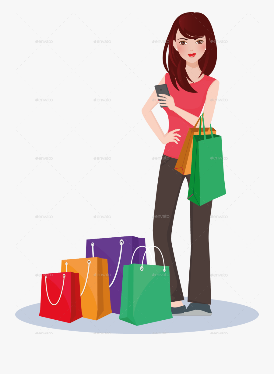 Shopping Girl By Nael005 - Girl With Shopping Bags Vector Png, Transparent Clipart