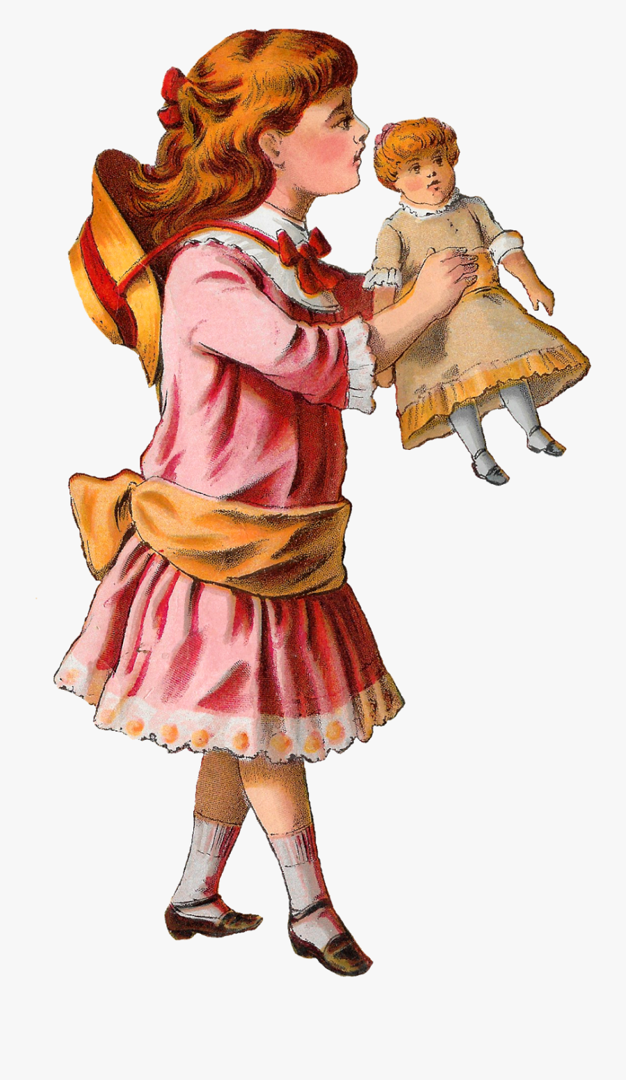 Girl Victorian Toy Doll Clipart Image Digital Download - Girl Holding A Doll Art, Transparent Clipart