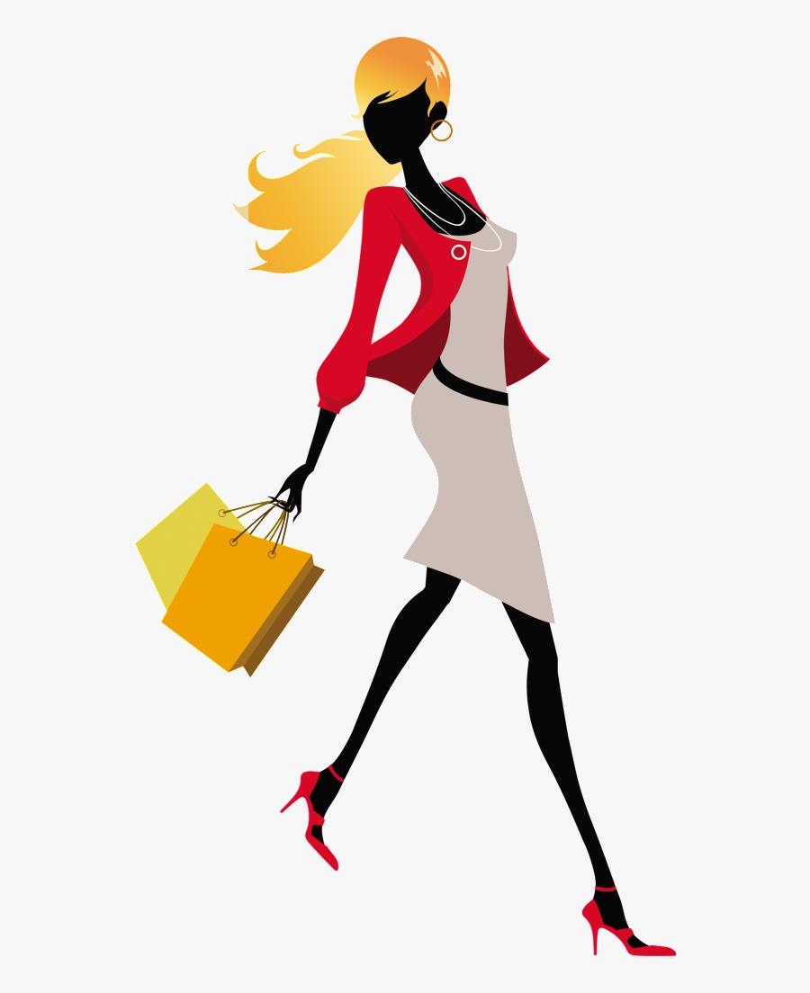 Cartoon Fashion Girl Png - Shopping Girl Png Hd, Transparent Clipart