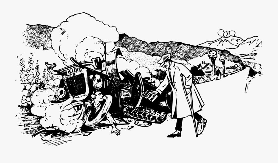 Art,monochrome Photography,monochrome - Draw Old Car Crash, Transparent Clipart