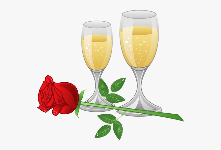 Flutes Clipart Champaigne - Wine And Roses Clipart, Transparent Clipart