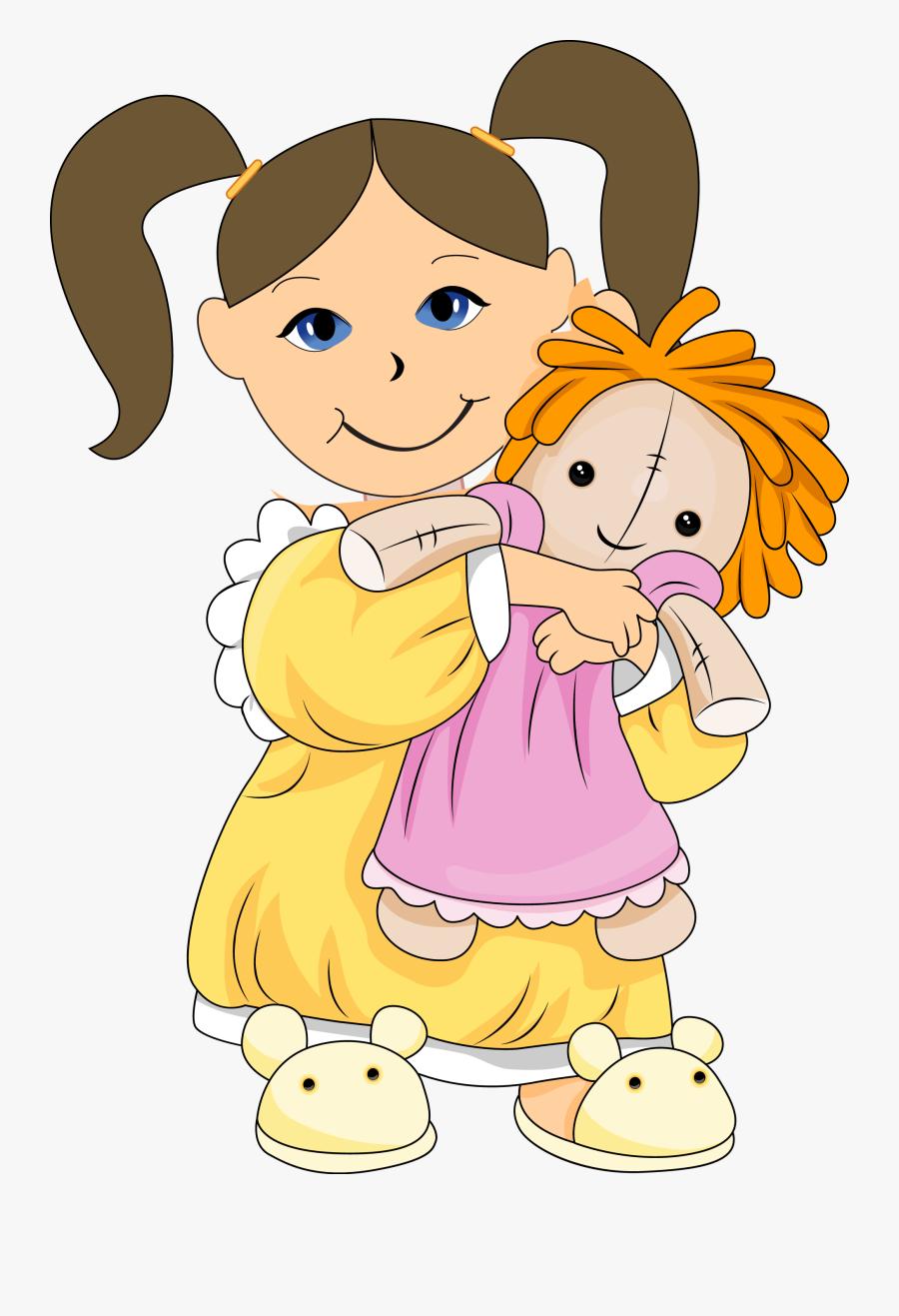 Barbie Doll Cartoon Clipart - Girl Holding Doll Clipart, Transparent Clipart