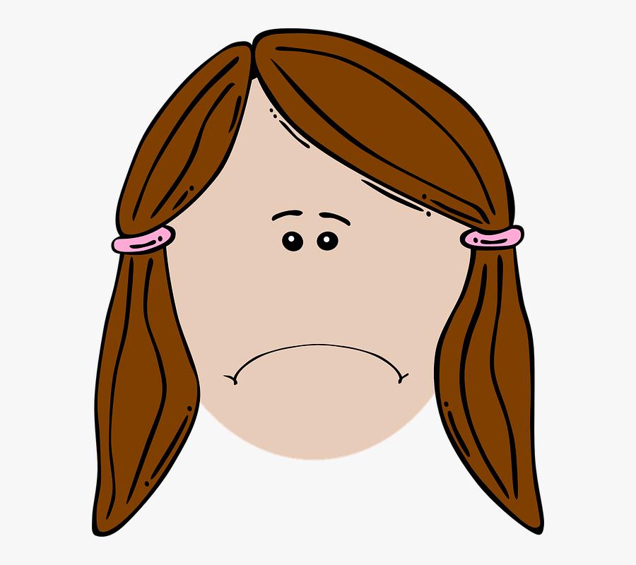 Depressed - Girl - Clipart - Sad Girl Face Cartoon, Transparent Clipart
