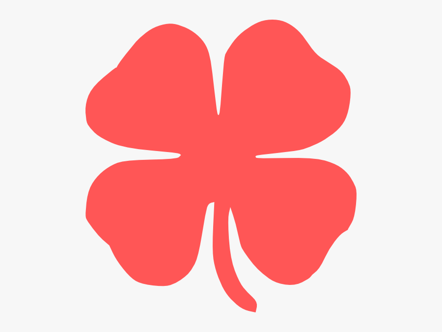 Red Four Leaf Clover Clip Art, Transparent Clipart