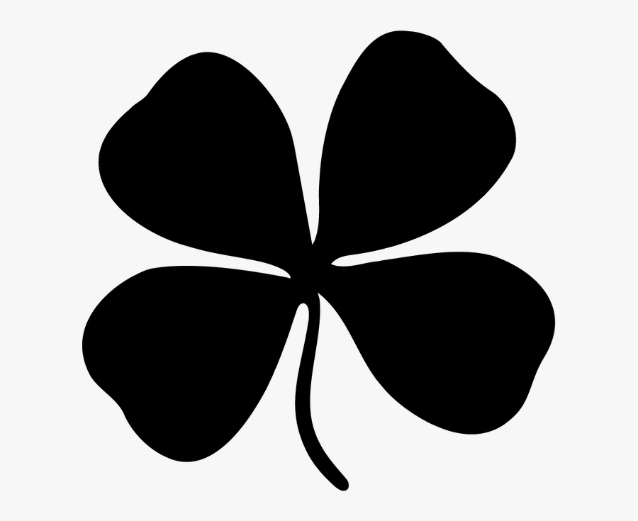 Black And White Four Leaf Clover Clip Art - Luck Black And White, Transparent Clipart