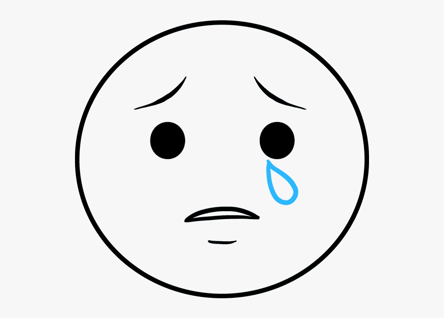 How To Draw Crying Emoji - Sad Face To Draw, Transparent Clipart