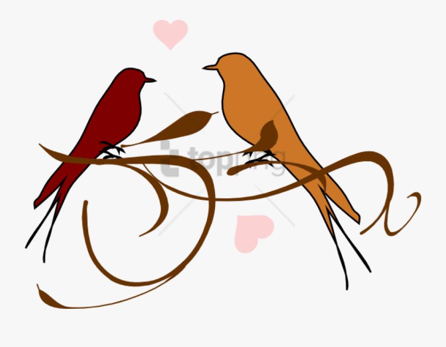 Bird,clip Art,summer Tanager,line Art - Love Birds Black And White, Transparent Clipart