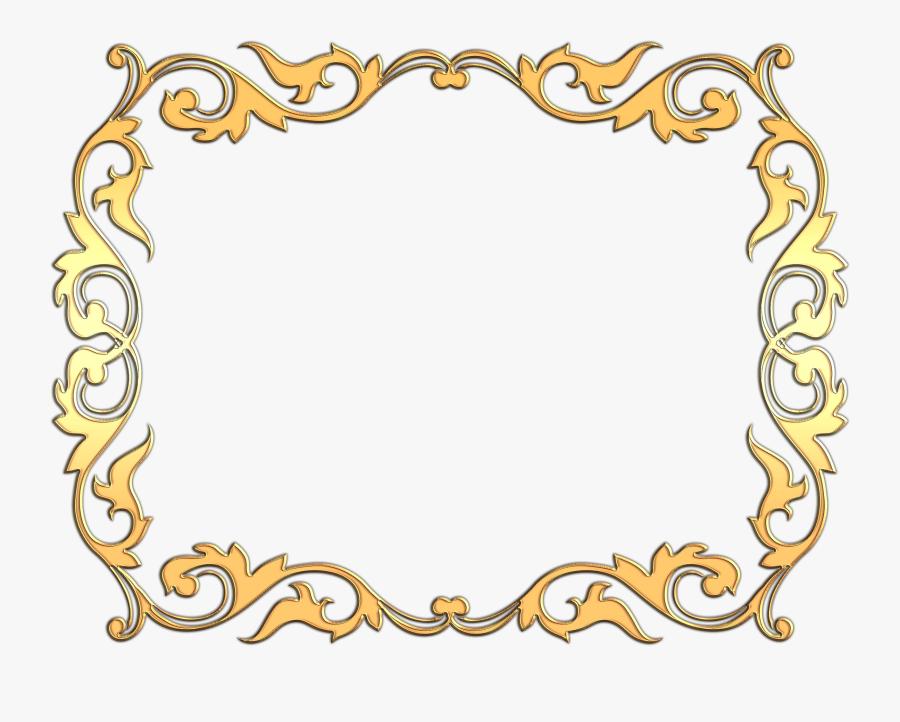 Bordes Decorativos Religiosos - Marco De Flores Dorado, Transparent Clipart