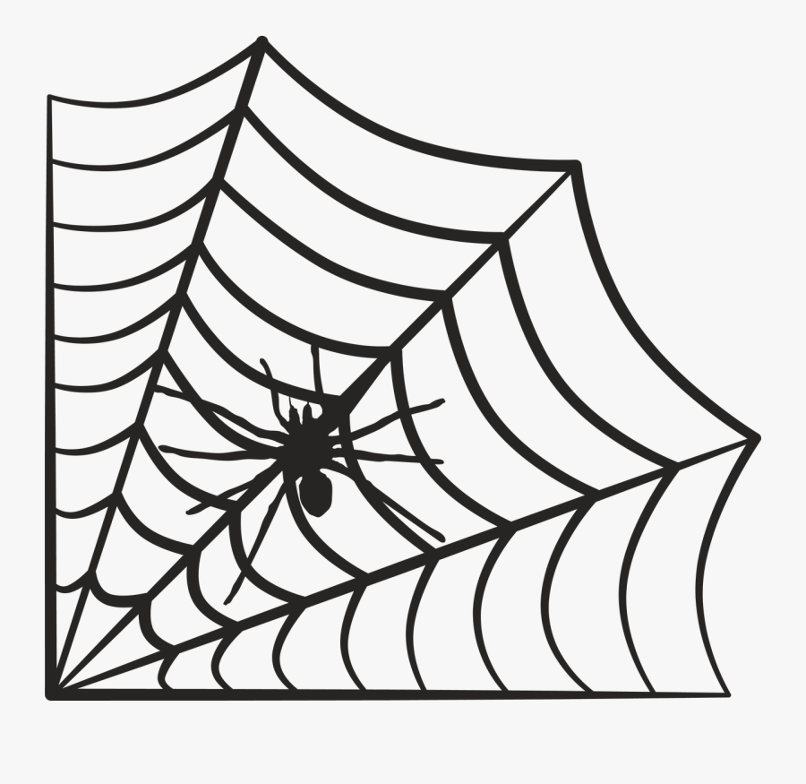 Spider Web - Spider In Web Clip Art Black And White, Transparent Clipart