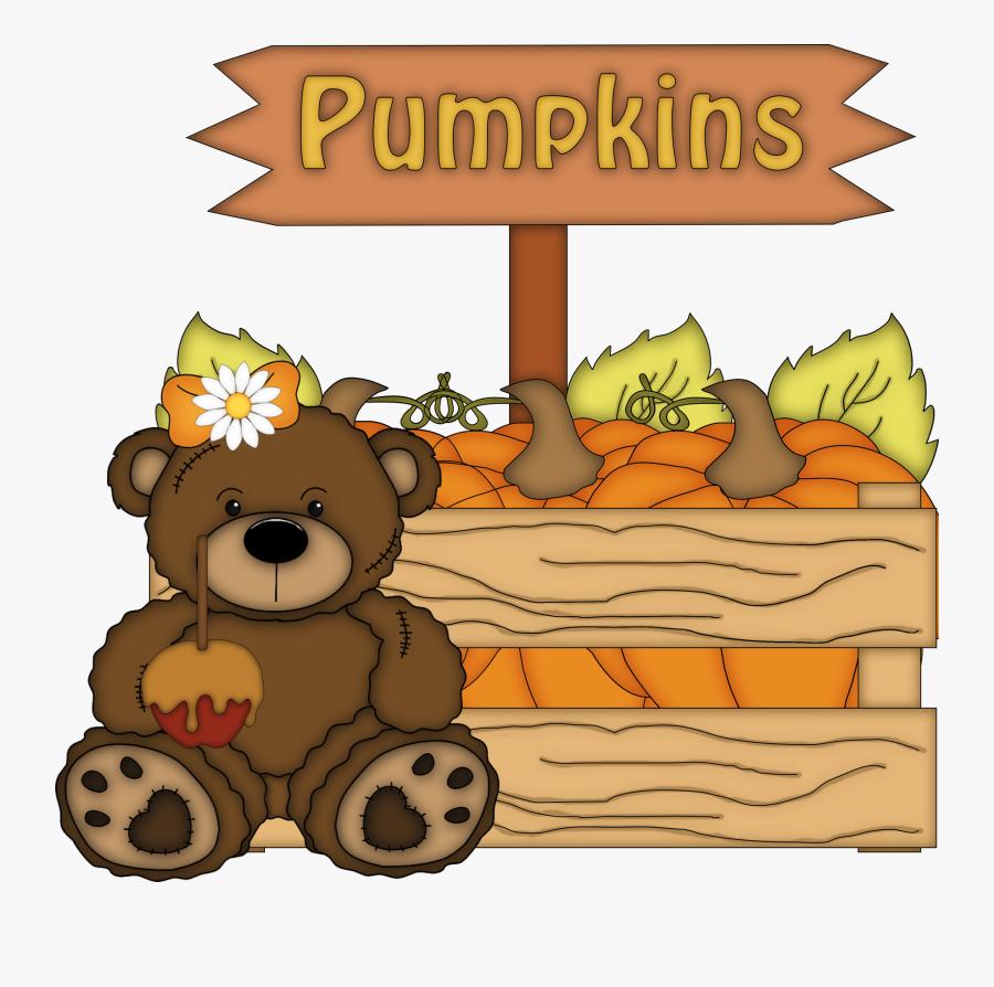 Transparent Fall Autumn Teddy Bears Png, Transparent Clipart